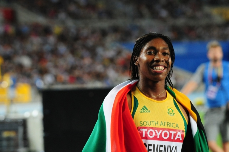 <p>South African runner Caster Semenya celebrates taking silver in the women's 800 metres final at the International Association of Athletics Federations (IAAF) World Championships in 2011.</p>