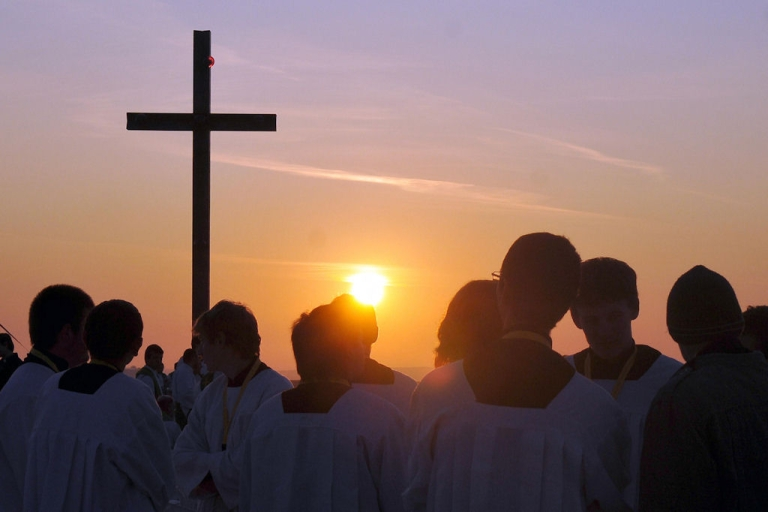 <p>A group of young priests along with a crowd of thousands gathers at Brno-Turany airport in the Czech Republic on Sept. 27, 2009 to attend Pope Benedict XVI's pontifical mass.</p>