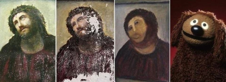 <p>A mash-up parody image appeared on Facebook showing the original Ecco Homo painting, its botched restoration, and a Sesame Street character.</p>