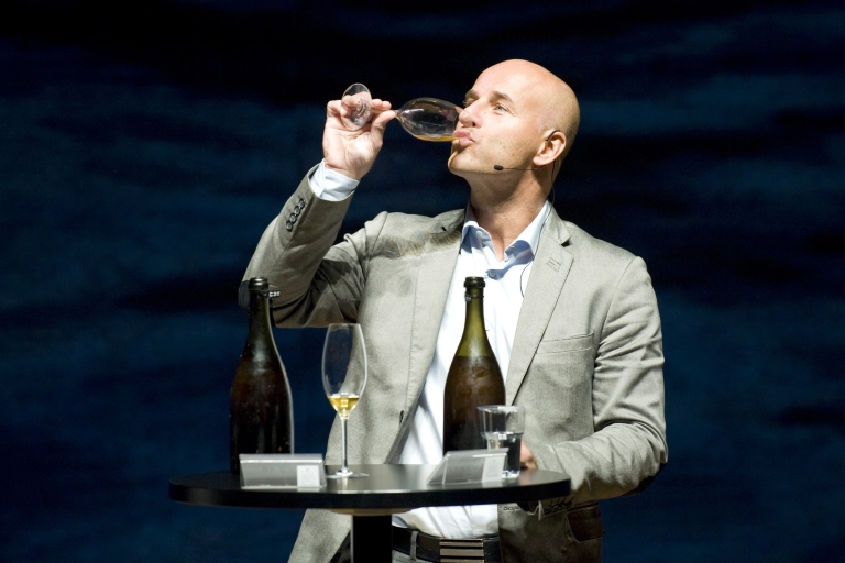 <p>Swedish Champagne expert Richard Julin tastes a 200-year-old champagne, on November 17, 2010 in Mariehamn. Finnish officials pop the cork of a 200-year-old bottle of Champagne, after bottles of what is believed to be the world's oldest bubbly were discovered on July 2010 in a shipwreck, at a depth of fifty meters, southeast of Mariehamn, on the southwestern Finnnish Aaland Islands of the Baltic Sea.</p>