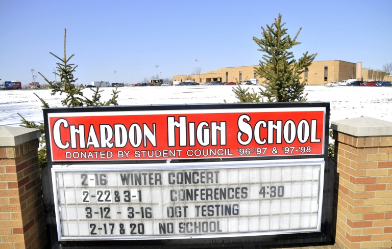 <p>A sign in front of Chardon High School in Chardon, Ohio, where TJ Lane went on a shooting spree on Feb. 27, 2012.</p>