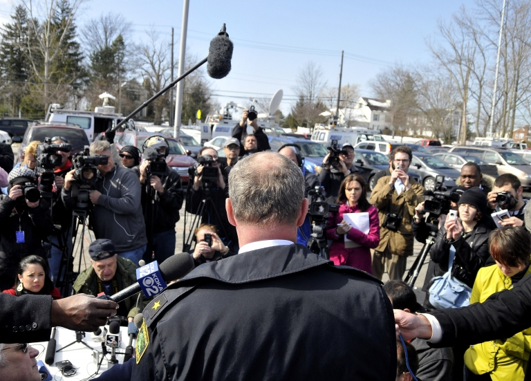 <p>CHARDON, OH - FEBRUARY 27:  Chardon Police Chief Tim McKenna speaks to the media during a press conference at Chardon High School where a shooting took place on February 27, 2012 in Chardon, Ohio. A gunman, believed to be a student, opened fire inside the high school cafeteria, killing one student and wounding four others.  (Photo by David Dermer/Getty Images)</p>