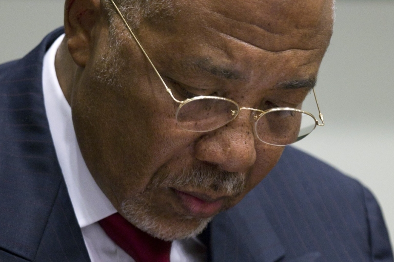 <p>Former Liberian president and ex-warlord Charles Taylor at the International Criminal Court in The Hague, were he was found guilty of 11 counts of aiding and abetting war crimes.</p>