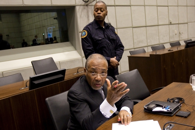<p>Former Liberian President Charles Taylor at his trial at the UN Special Court for Sierra Leone.</p>