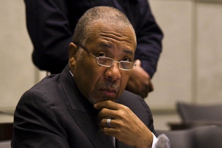 <p>Former Liberian President Charles Taylor waits on Feb. 8, 2011, for the start of the prosecution's closing arguments during his trial at the UN Special Court for Sierra Leone.</p>