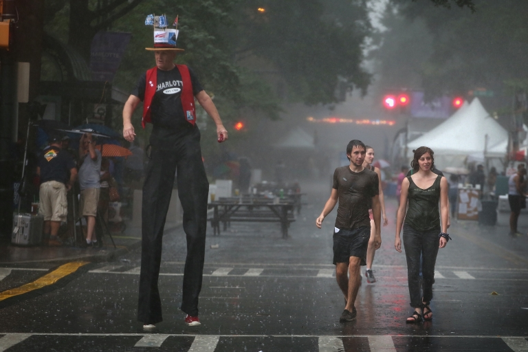 <p>Carolinafest in Charlotte gets caught in a downpour on Sept. 3 ahead of the Democratic National Convention.</p>