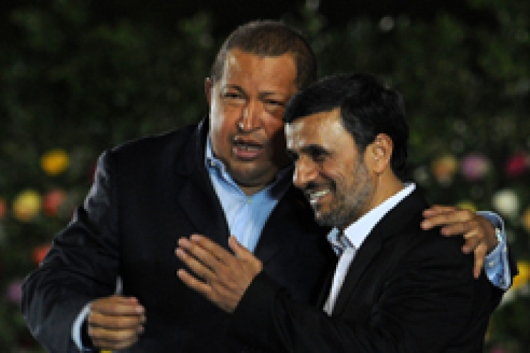 <p>Venezuelan President Hugo Chavez, left, embraces Iranian President Mahmoud Ahmadinejad, in Managua on Jan. 10, during the inauguration of mutual pal Nicaraguan President Daniel Ortega.</p>