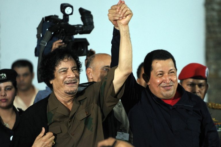 <p>Dictators-in-arms: Gaddafi and Chavez</p>