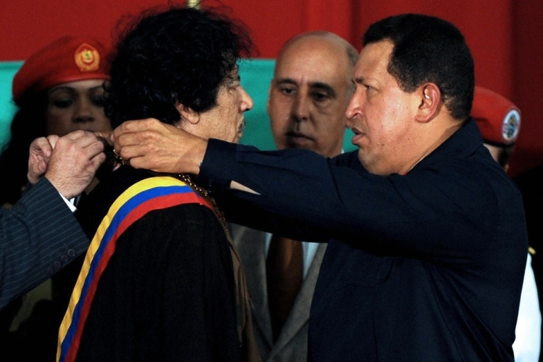 <p>Chavez presented Gaddafi with the Order of the Liberator, Venezuela's highest honor, in 2009.</p>