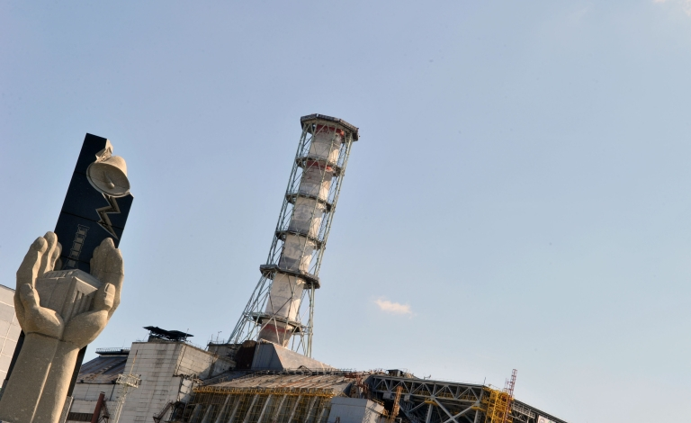 <p>A view of the 4th power block of the Chernobyl Nuclear Power Plant taken on April 18, 2011. In the heart of Chernobyl, Ukrainian specialists regularly venture inside the concrete cover sheltering the ruined reactor after it exploded on April 26, 1986 to check its structure and radiation levels.</p>