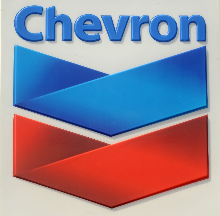 <p>A sign at a Chevron filling station.</p>