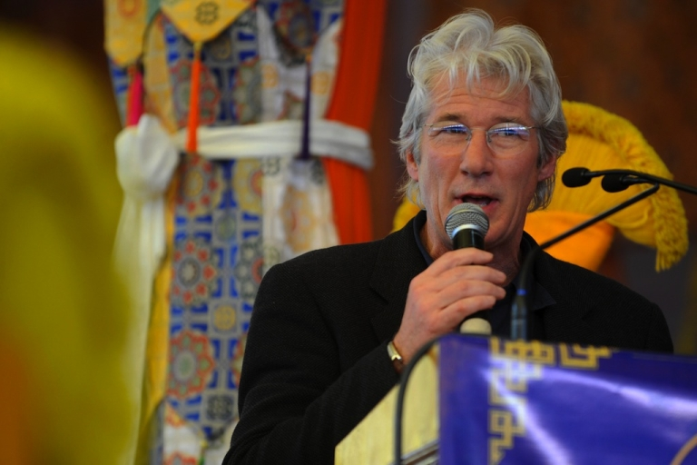 <p>US actor Richard Gere speaks at the unveiling of Tibetan spiritual leader the Dalai Lama's new book 'Beyond Religion' during the last day of the Kalachakra Festival in Bodhgaya on January 10, 2012. Kalachakra 2012, a festival of teachings and meditations will take place from January 1, 2012 for ten days in the northern Indian state of Bihar and will be attended by Tibetan Spiritual Leader The Dalai Lama.</p>