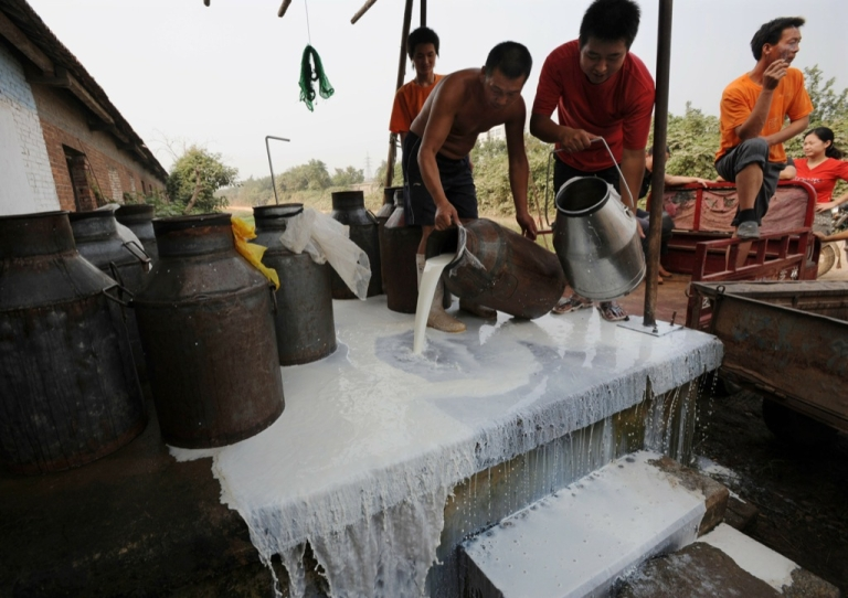 <p>Farmers pour away milk as the milk collection station has stopped buying milk on September 21, 2008 in Wuhan of Hubei Province, China.</p>