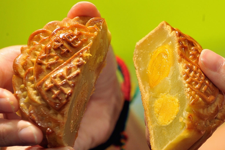 <p>A traditional Chinese mooncake on sale in Hong Kong.</p>