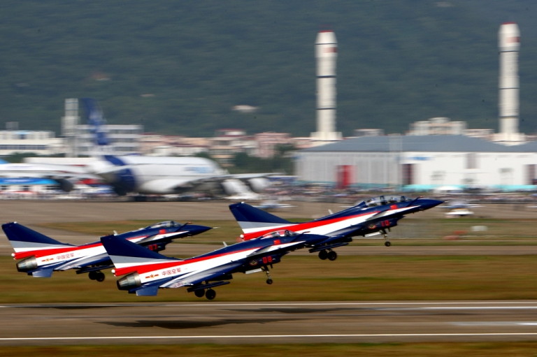 <p>China's J-10 fighter jets perfom during the Air Show 2010 in Zhuhai, south China's Guangzhou province. Last year China won orders for 100 of its large, domestically built passenger jets, challenging industry giants Airbus and Boeing in what will soon become the world's largest aviation market.</p>
