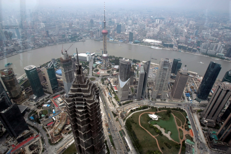 <p>A new report from The South China Morning Post said the Chinese government could be about to relax its ban on Facebook, Twitter and the New York Times in the free-trade zone of Shanghai. An elevated view of downtown Shanghai.</p>
