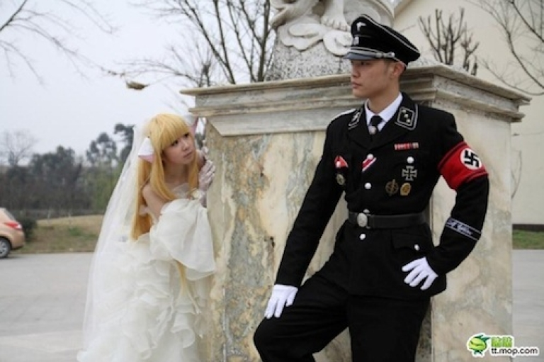 <p>Photos from a Chinese wedding party, circulated by the blog China Hush, feature a couple posing in elaborate Nazi costumes.</p>