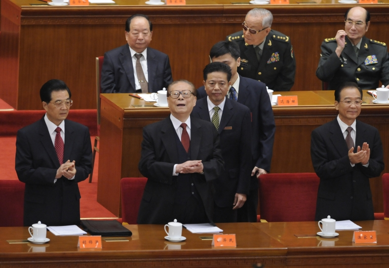 <p>China's President Hu Jintao and former president Jiang Zemin attend the commemoration of the 100th anniversary of the Xinhai Revolution at the Great Hall of the People on October 9, 2011.</p>