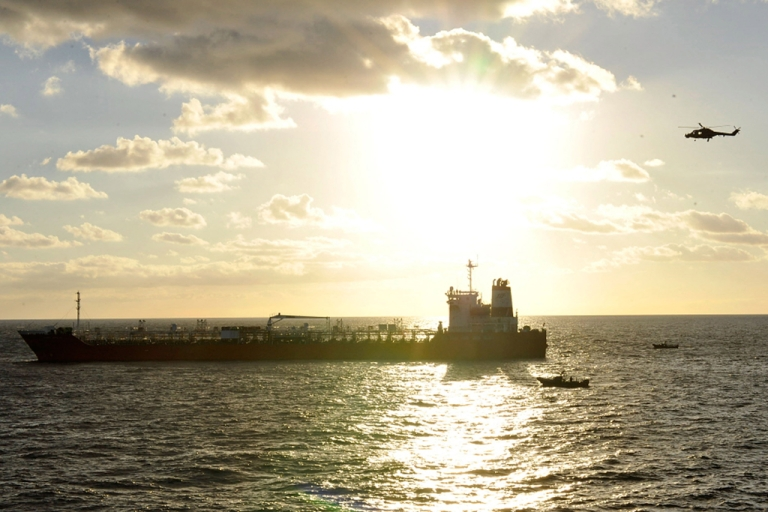 <p>A South Korean freighter that was raided by Somali pirates in January, 2011 on the Arabian Sea. Pirates hijacked a Chinese freighter on April 6, 2012 in the Gulf of Oman, and the Iranian navy shadowed the vessel.</p>