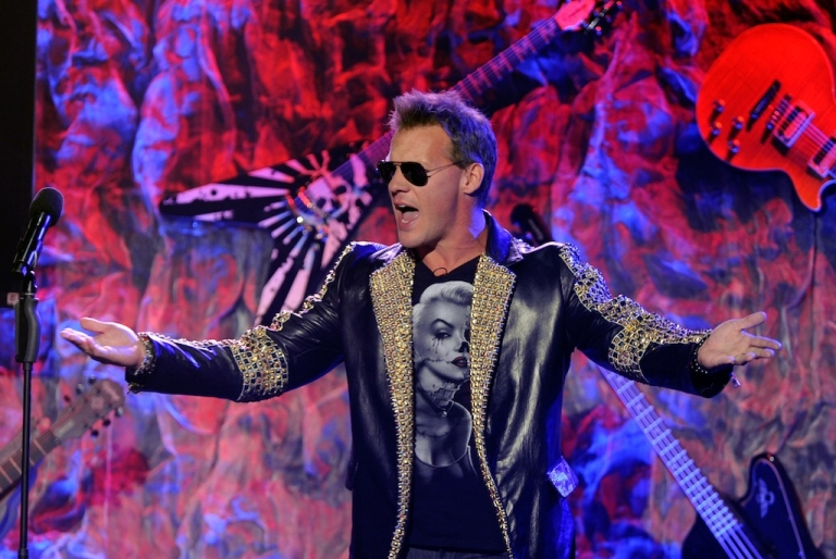 <p>Host Chris Jericho on stage during the 2012 Revolver Golden Gods Award Show at Club Nokia on April 11, 2012 in Los Angeles, California.</p>