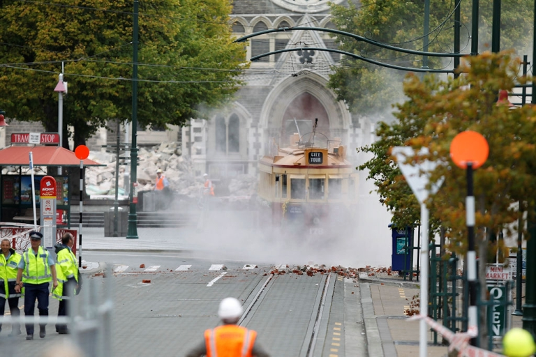 <p>An iconic Christchurch tram is covered in debris on Feb. 22, 2011 in Christchurch, after New Zealand's second-largest city suffered a 6.3-magnitude earthquake.</p>