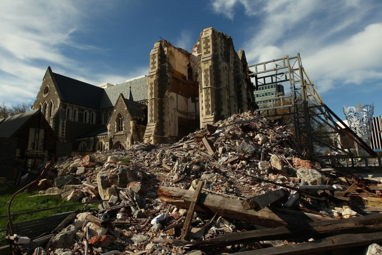 <p>Christchurch Cathedral, seven months after the Feb. 22, 2011 earthquake that snapped its iconic spire in two and caused severe structural damage.</p>