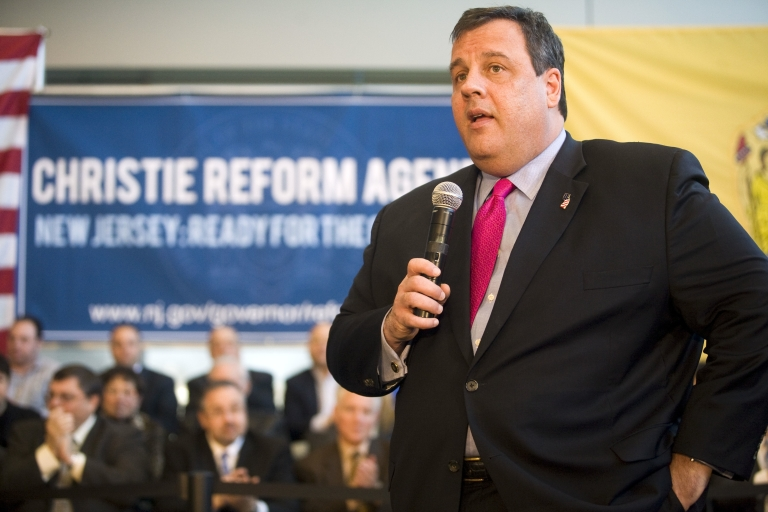<p>New Jersey Gov. Chris Christie speaks at a Reform Agenda Town Hall meeting at the New Jersey Manufacturers Company facility in Hammonton, NJ, on March 29, 2011.</p>