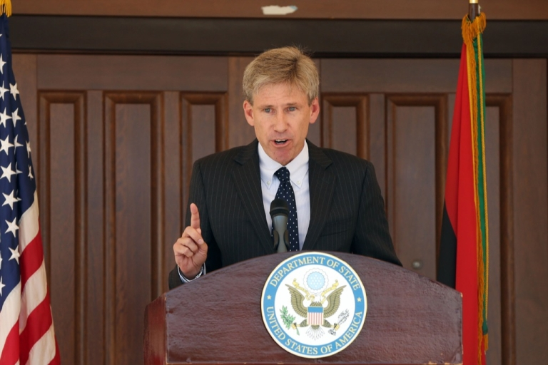 <p>US ambassador to Libya Chris Stevens gives a speech on August 26, 2012 at the US embassy in Tripoli.</p>