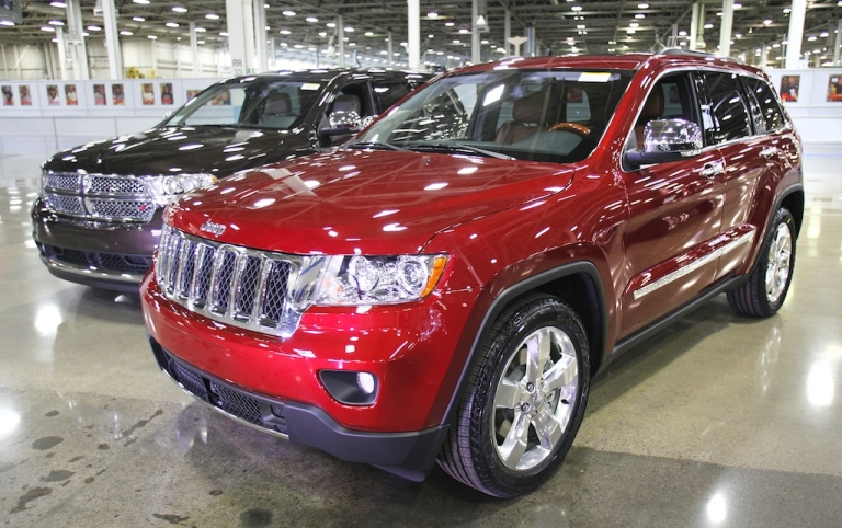 <p>Chrysler Group vehicles are shown at the company's Jefferson North Assembly Plant in Detroit.</p>