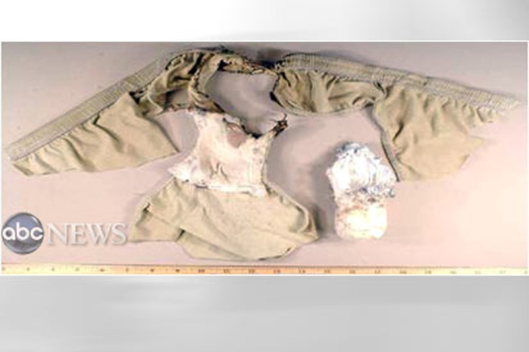 <p>In this handout government image provided by ABC news, the underwear with the explosive worn by alleged bomber Umar Farouk Abdulmutallab, is all that remains of a failed attempt to down a flight over Detroit on December 28, 2009. The CIA reportedly thwarted another plot involving a bomb concealed in underwear on a plane that was to coincide with Osama bin Laden's death anniversary around May 2, 2012.</p>