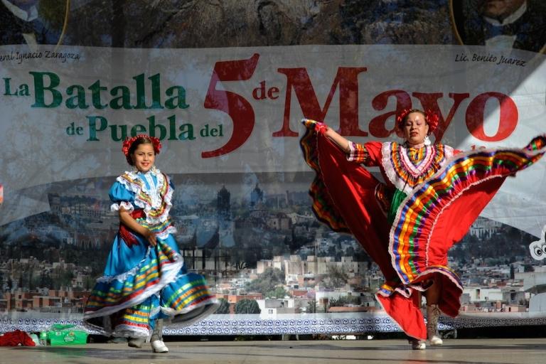 <p>Aracely Saucillo (L) and Marylin Castillo perform with Mexica Ballet Folclorico during Cinco De Mayo festivities on May 5, 2011, at El Pueblo de Los Angeles Historic Site on Olvera Street in downtown Los Angeles, California.</p>