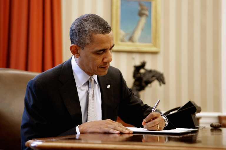 <p>U.S. President Barack Obama signs a proclamation to designate federal lands within the former Fort Ord as a national monument in the Oval Office of the White House April 20, 2012 in Washington, DC. According to the White House,