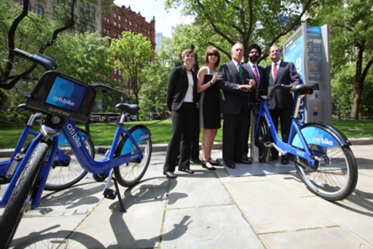 "<p>Mayor Michael Bloomberg, NYC Dept. of Transportation Commissioner Janette Sadik-Khan and Citi CEO Vikram Pandit announced that Citi will be the title sponsor for New York City's new bike share program, ""Citi Bike,"" on May 7, 2012.</p>"