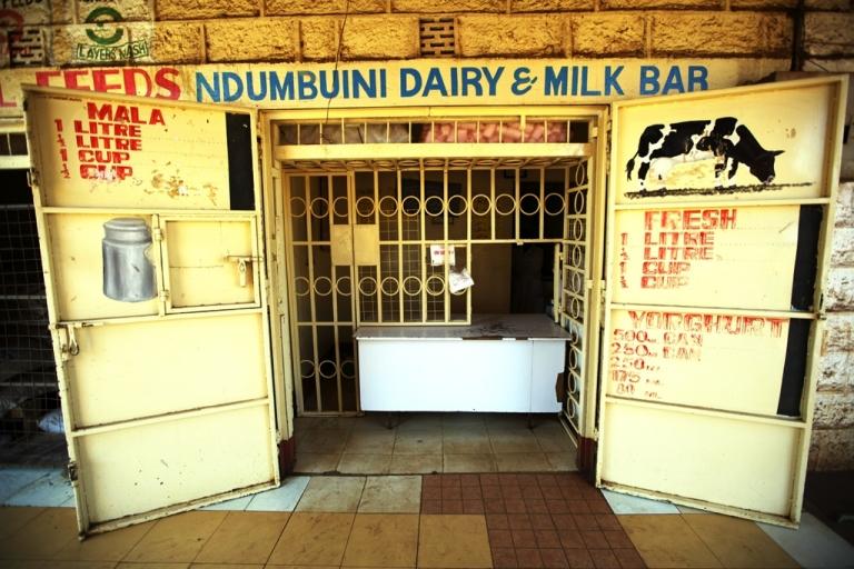 <p>The Ndumbuini Dairy and Milk Bar in Nairobi, Kenya, where farmers can sell milk direct to customers.</p>