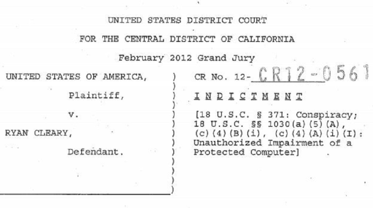 <p>Ryan Cleary's indictment, filed in February in Los Angeles County.</p>