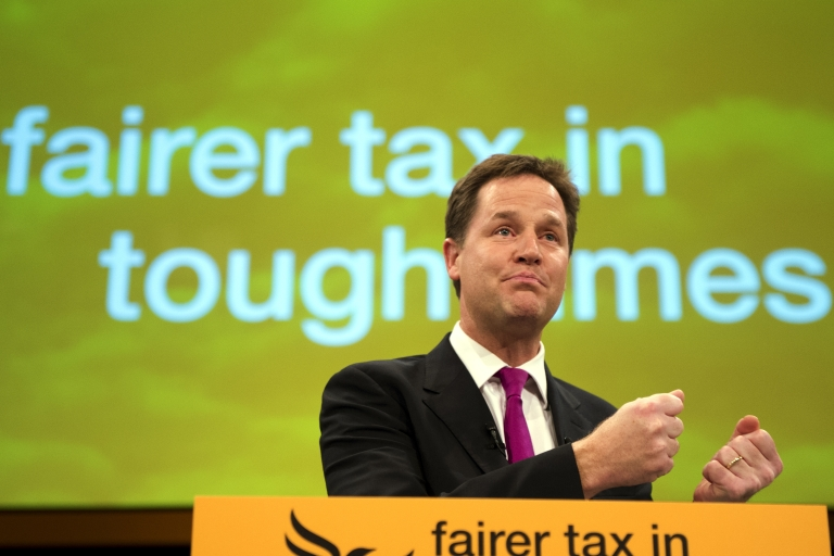 <p>Nick Clegg at the Lib Dem conference this week: Some believe he won't lead his party into the next elections.</p>