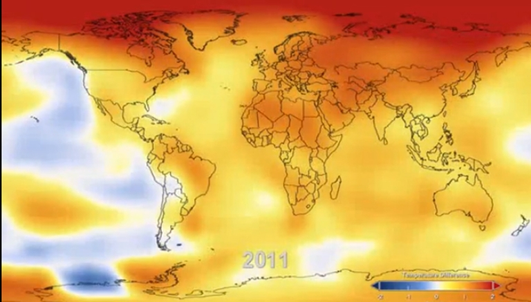 <p>A screengrab of 2011's global warming patterns from NASA's Goddard Institute video.</p>