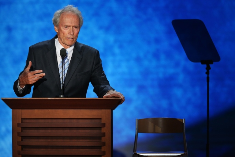 <p>Actor Clint Eastwood speaks to an an imaginary President Obama sitting on an empty chair during the final day of the Republican National Convention at the Tampa Bay Times Forum on Aug. 30, 2012 in Tampa, Florida.</p>