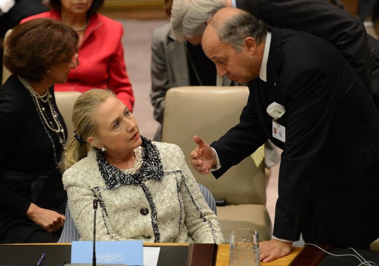 <p>French Foreign Minister Laurent Fabius and US Secretary of State Hillary Clinton speak at the start of a UN Security Council meeting on peace and security in the Middle East during the 67th UN General Assembly at the United Nations headquarters in New York, Sept. 26, 2012.</p>