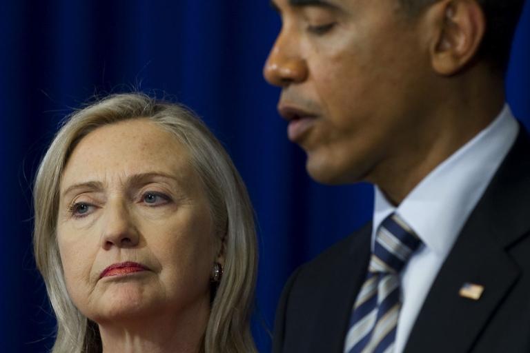 <p>President Barack Obama speaks alongside US Secretary of State Hillary Clinton.</p>