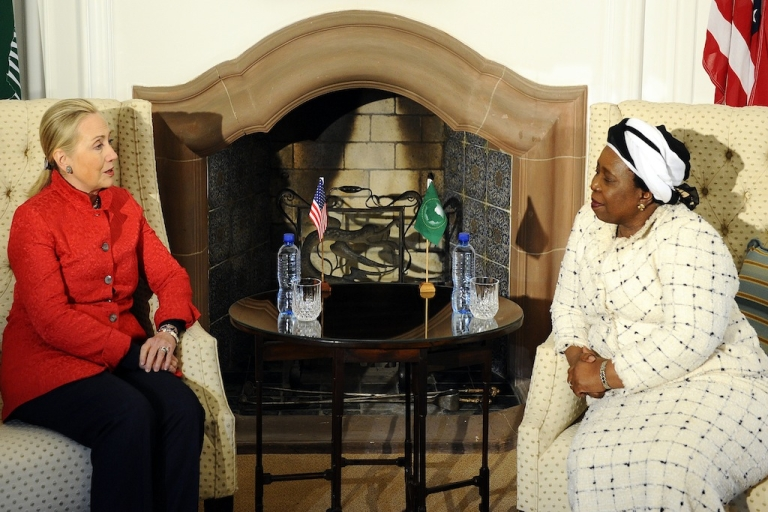 <p>Hillary Clinton meets with the chairperson of the African Union Commission, South Africa's Nkosazana Dlamini-Zuma at the presidential guesthouse in Pretoria. Clinton spoke about all kinds of things during her stop in South Africa, but hasn't mentioned the one thing human rights groups are calling for her action on – controversial information legislation.</p>