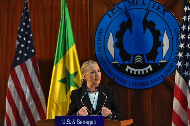 <p>US Secretary of State Hillary Clinton spoke during a press conference at Dakar University in Senegal on August 1, 2012, as she began an 11-day trip in Africa focusing on peace, security and development.</p>