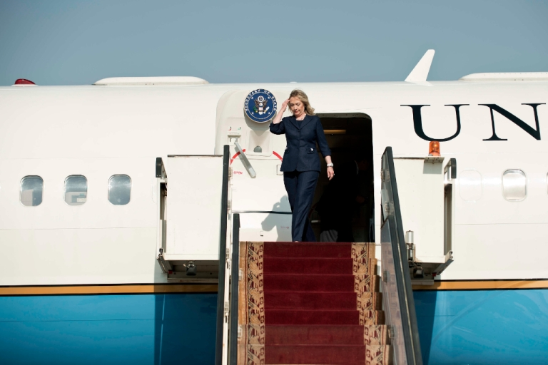 <p>US Secretary of State Hillary Clinton arrives at Cairo international airport on July 14, 2012. Clinton arrives in Cairo for talks with new Egyptian President Mohamed Morsi, amid a power struggle between the Islamist leader and the generals who ruled Egypt after Hosni Mubarak was ousted.</p>