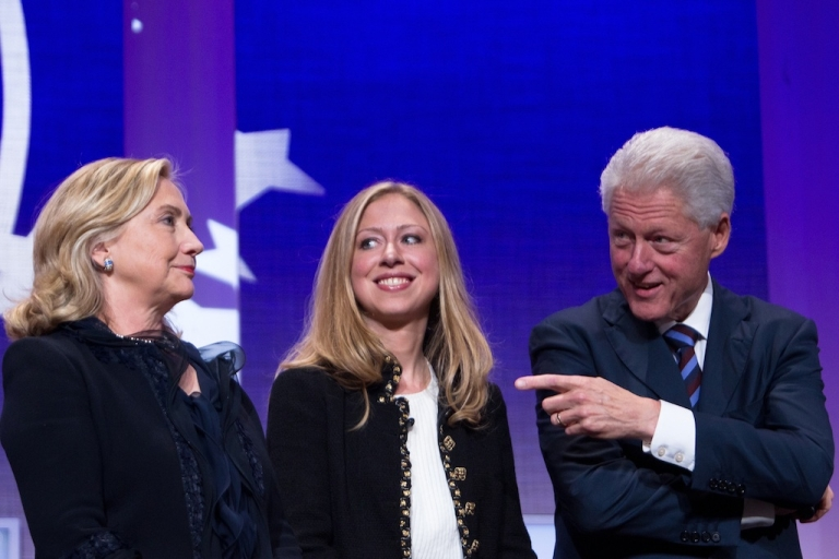 <p>Another Clinton in the White House? Chelsea Clinton stands with her parents, former US President Bill Clinton and US Secretary of State Hillary Clinton, at the seventh annual meeting of the Clinton Global Initiative at the Sheraton New York Hotel on September 22, 2011.</p>