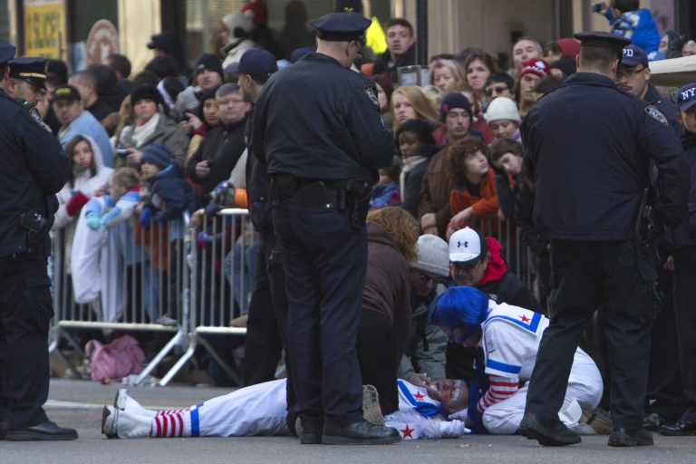 <p>Robert Blasetti, 67, was blowing up balloons for children when he collapsed during the 86th Annual Macy's Thanksgiving Day Parade on November 22, 2012 in New York.</p>