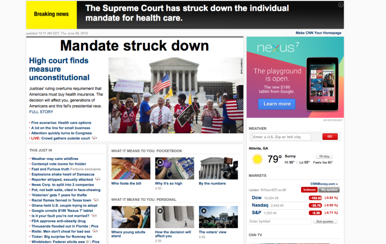 <p>This screenshot of CNN's website captures the moment when the network incorrectly reported that the US Supreme Court ruled the health care mandate unconstitutional.</p>