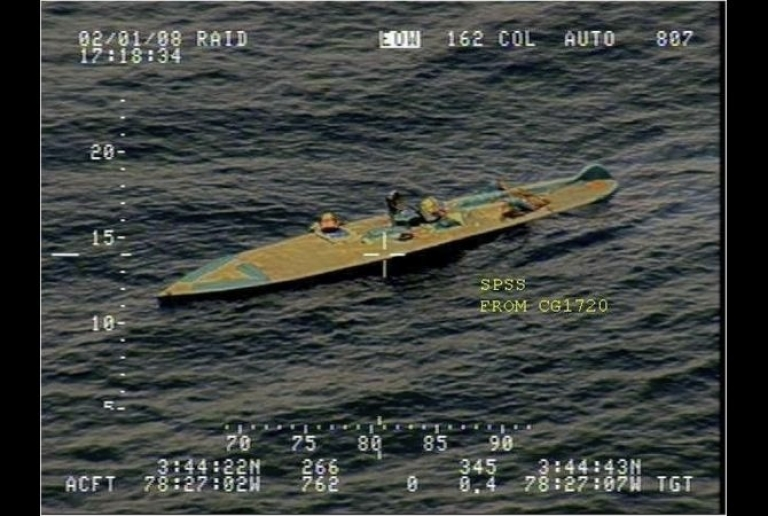 <p>After being spotted off of Colombia's Pacific coast by the U.S. Coast Guard, a Colombian crew sank this blue fiberglass semi-submersible.</p>