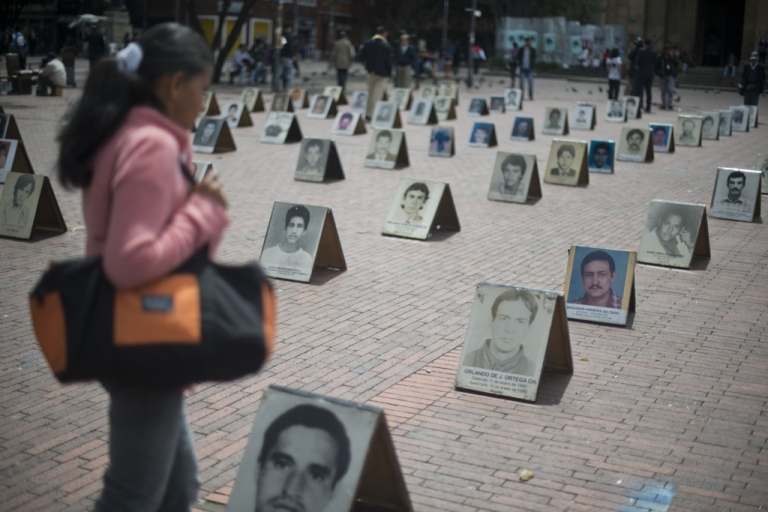 <p>An outdoor exhibit marks International Day of the Disappeared in Bogota, on Aug. 30. According to the United Nations there are more than 57,200 missing people in Colombia in the last 30 years, more than 15,000 are considered victims of enforced disappearance.</p>