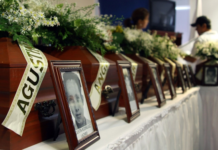 <p>The urns with the remains of people that were missing, are seen during a ceremony on July 09, 2010, in Cucuta, Norte de Santander department, Colombia. Relatives of 18 victims assassinated by the United Self-Defense Forces of Colombia (AUC) between 2001 and 2003 received the remains of their loved ones in the framework of the country's peace process. AFP PHOTO/Manuel Hernandez (Photo credit should read MANUEL HERNANDEZ/AFP/Getty Images)</p>