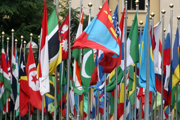 <p>Numerous national flags in front of the United Nations office in Geneva, Switzerland.</p>